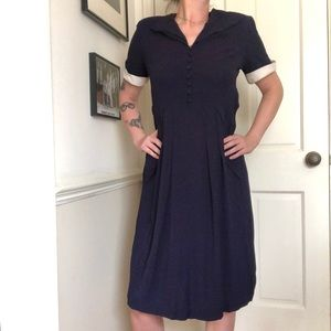 40s Vintage Navy Blue Collared Rayon Day Dress